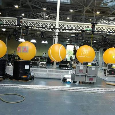 7ft fully printed spheres with sewn in fans for indoor use