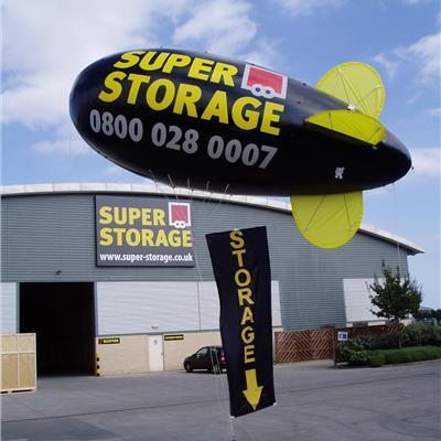 Black Blimp for Storage Facilty. with Tether Line Banner