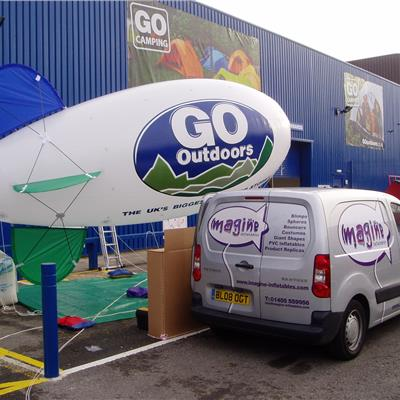 Go Outdoors (one of their many blimps) inflated and ready to fly.