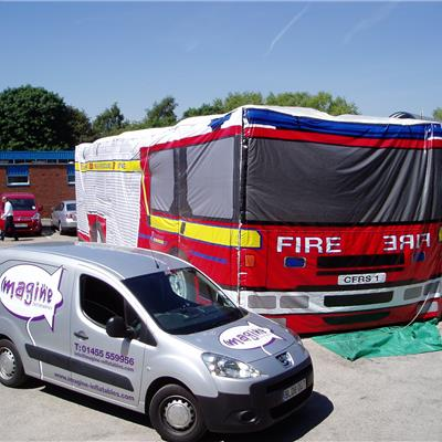 Inflatable Fire Engine, interactive internal structure with fully printed outer