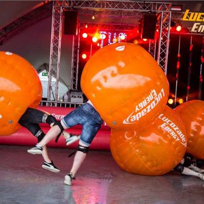 Lucozade Body Zorbs in action!
