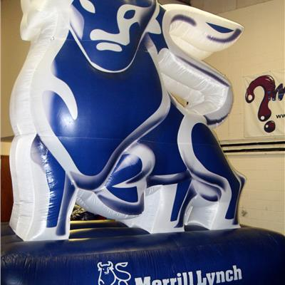 Inflatable Bull on Plinth