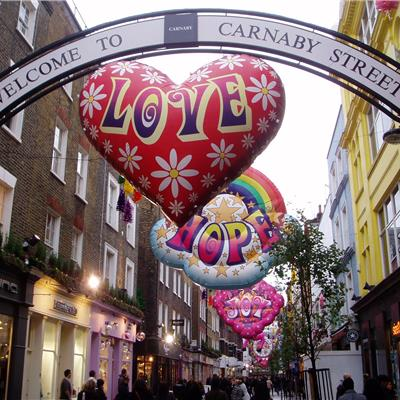 Inflatable Hearts and Rainbows for Carnaby Street carnival!