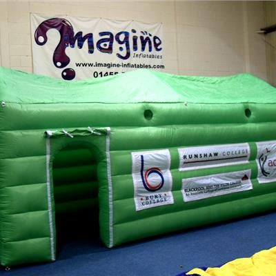 Inflatable Green Cube with Apex Roof - Velcro detachable banners