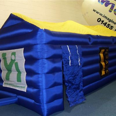 Inflatable Multi Colour Cube with Apex Roof - Velcro detachable banners