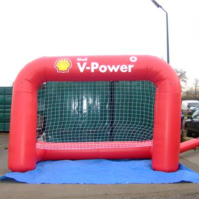 Inflatable branded football goal