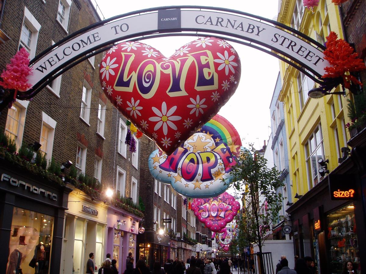 Inflatable Hearts And Rainbows For Carnaby Street Carnival