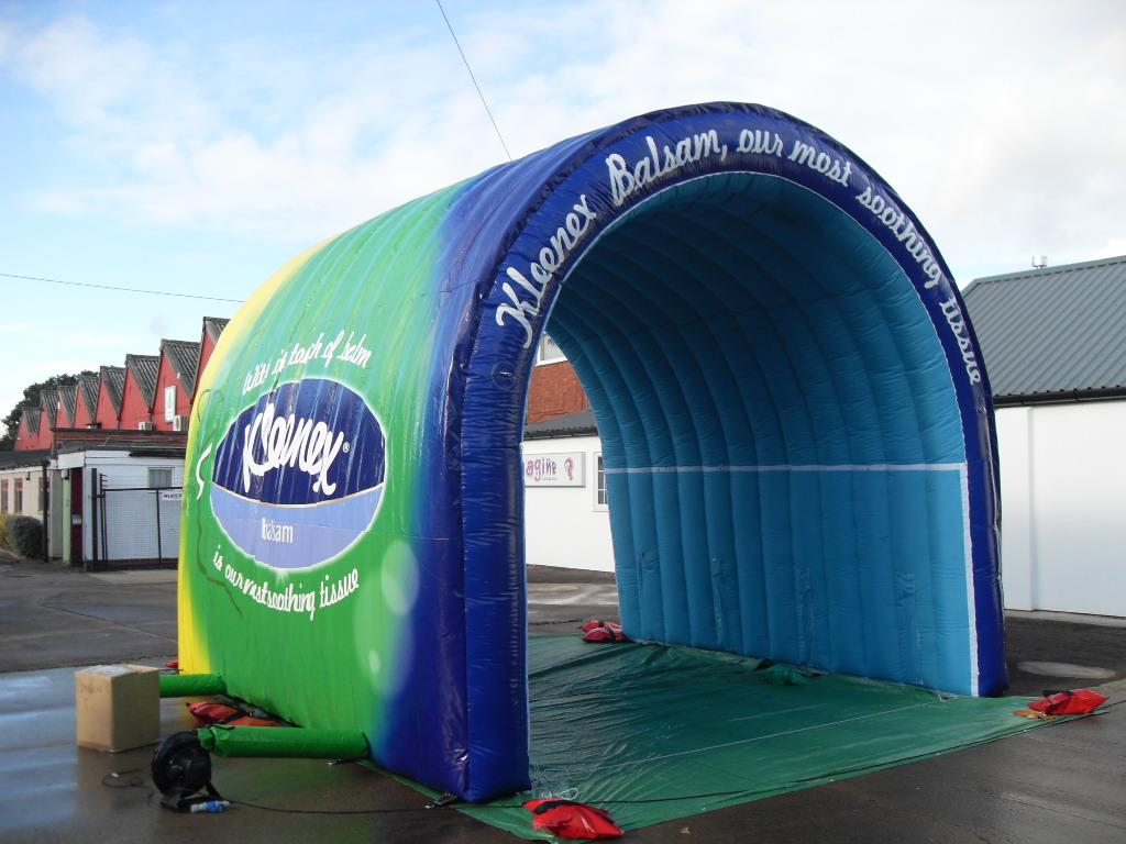 Small Inflatable Fully Branded Tunnel & Inflatable Tunnels and Stage Covers Fully Branded and Bespoke Designs.